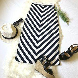 Ann Taylor Loft Chevron Navy Blue Maxi Skirt, XSP